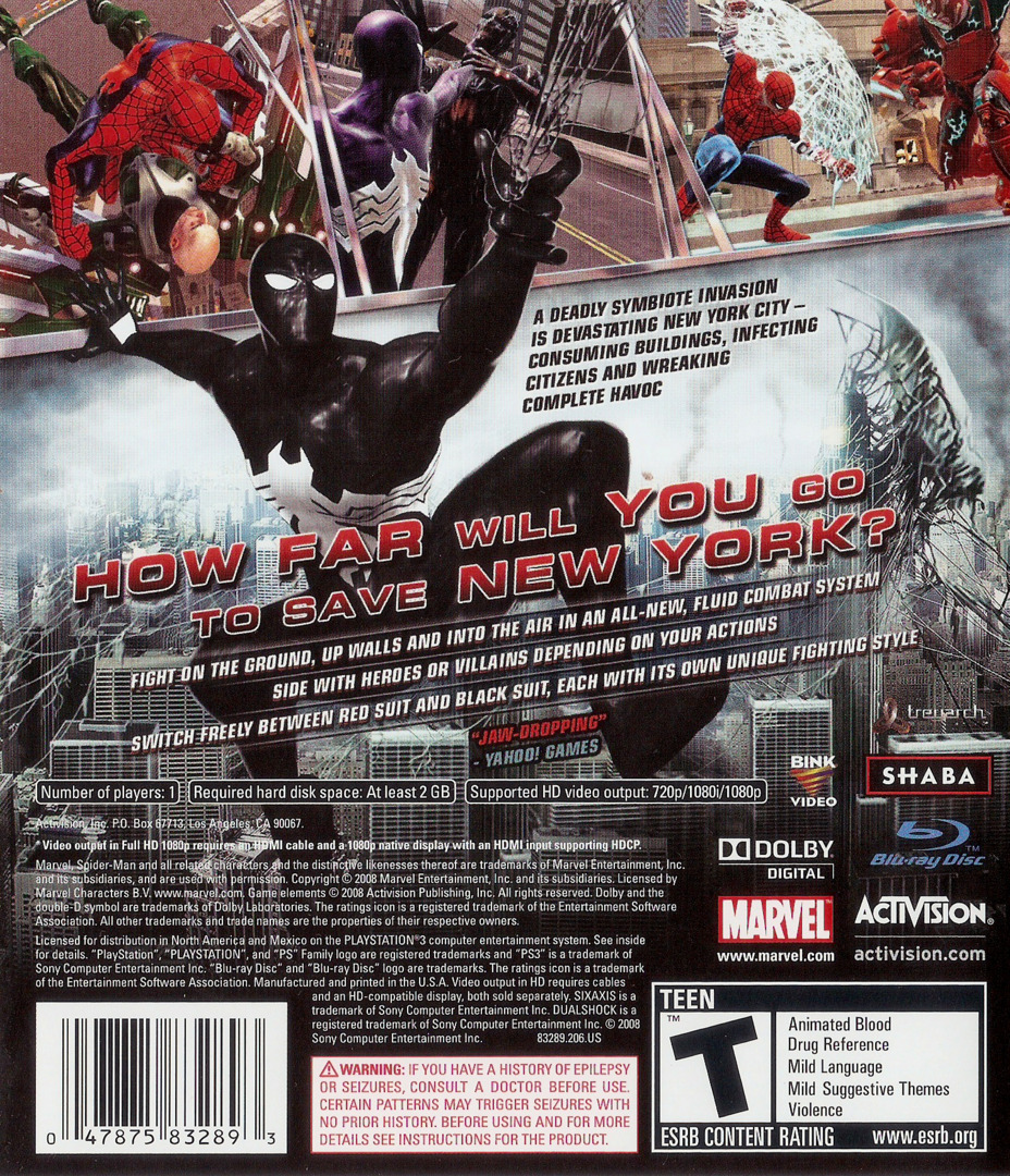 Spider-Man: Web of Shadows PS3 backHQ (BLUS30218)