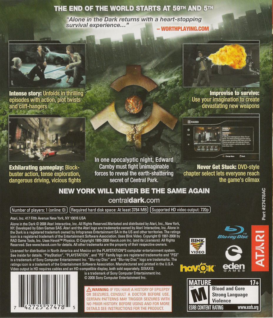 Alone in the Dark: Inferno PS3 backHQ (BLUS30232)