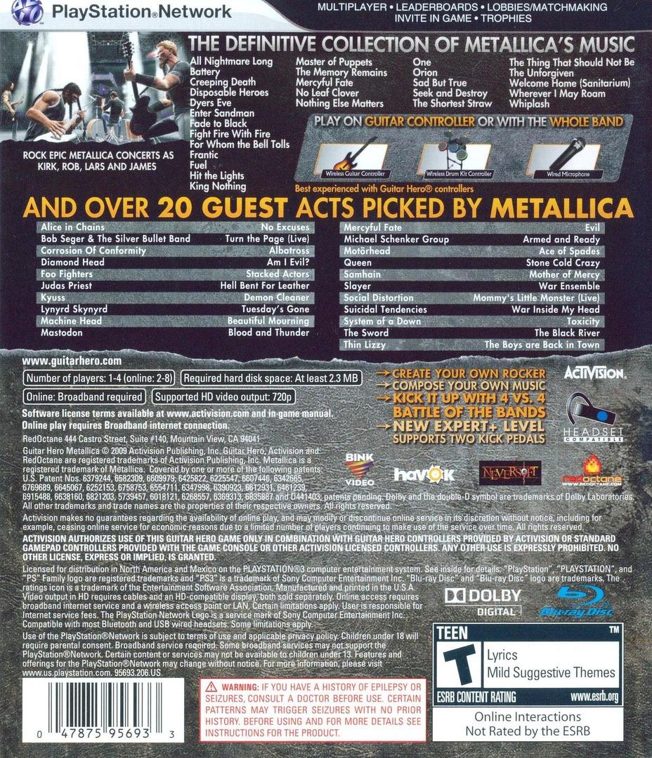 Guitar Hero: Metallica PS3 backHQ (BLUS30257)