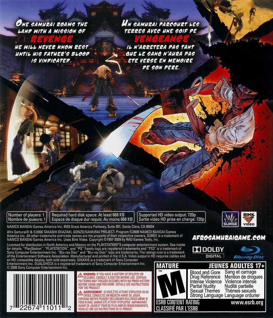 Afro Samurai PS3 backHQ (BLUS30264)