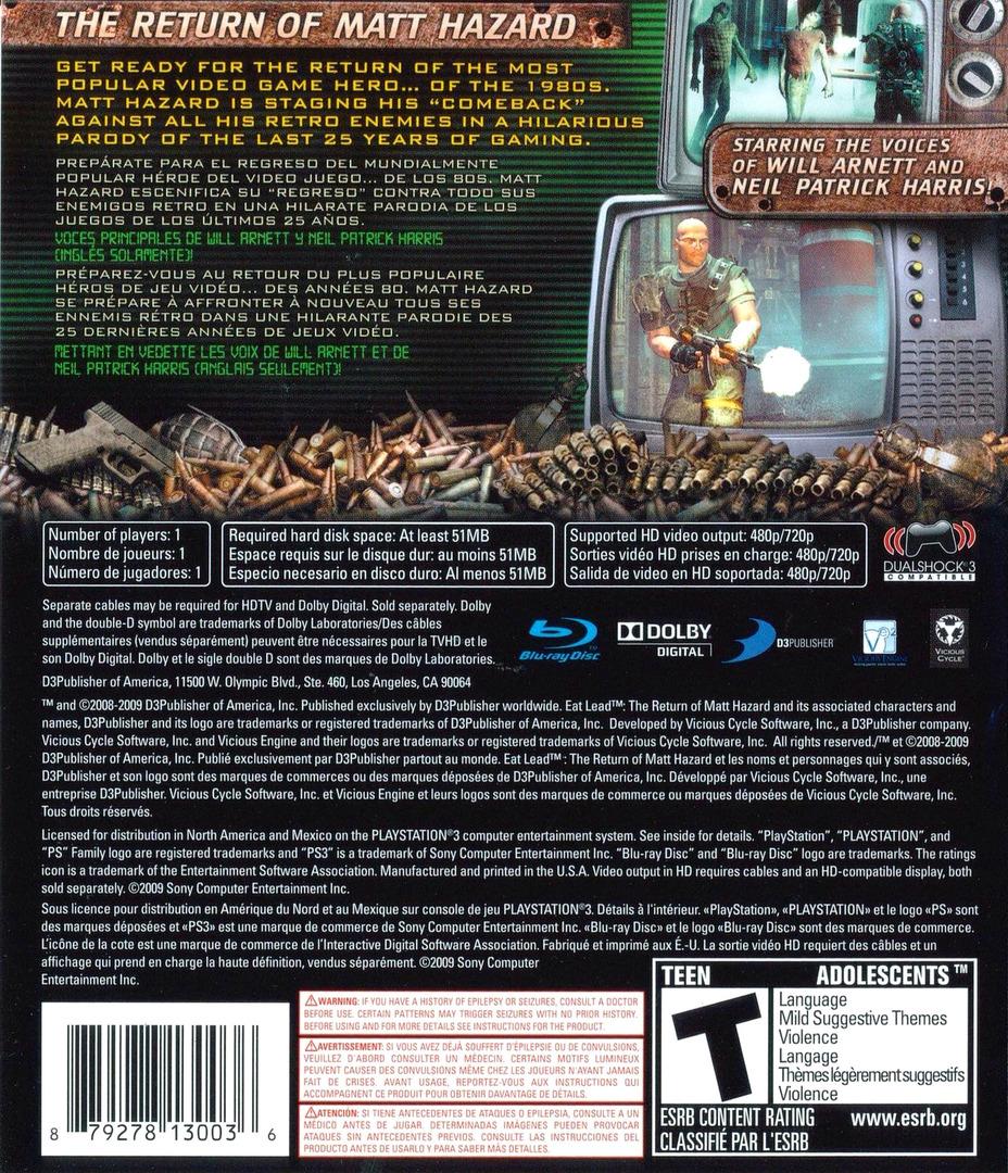 Eat Lead: The Return of Matt Hazard PS3 backHQ (BLUS30267)