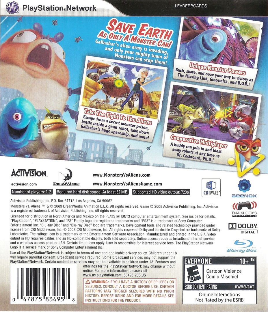 Dreamworks' Monsters vs. Aliens PS3 backHQ (BLUS30273)