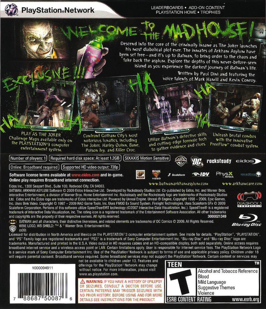 Batman: Arkham Asylum PS3 backHQ (BLUS30279)