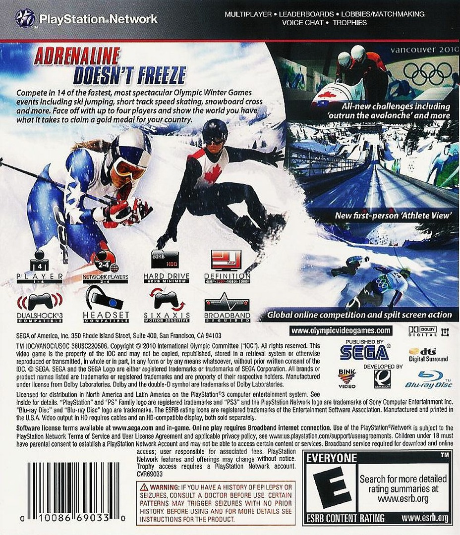 Vancouver 2010: The Official Video Game of the Olympic Games Array backHQ (BLUS30344)