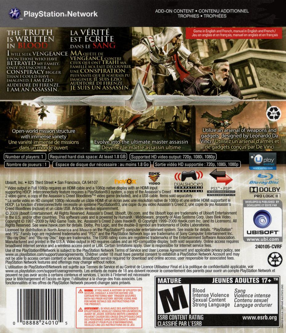 Assassin's Creed II PS3 backHQ (BLUS30364)