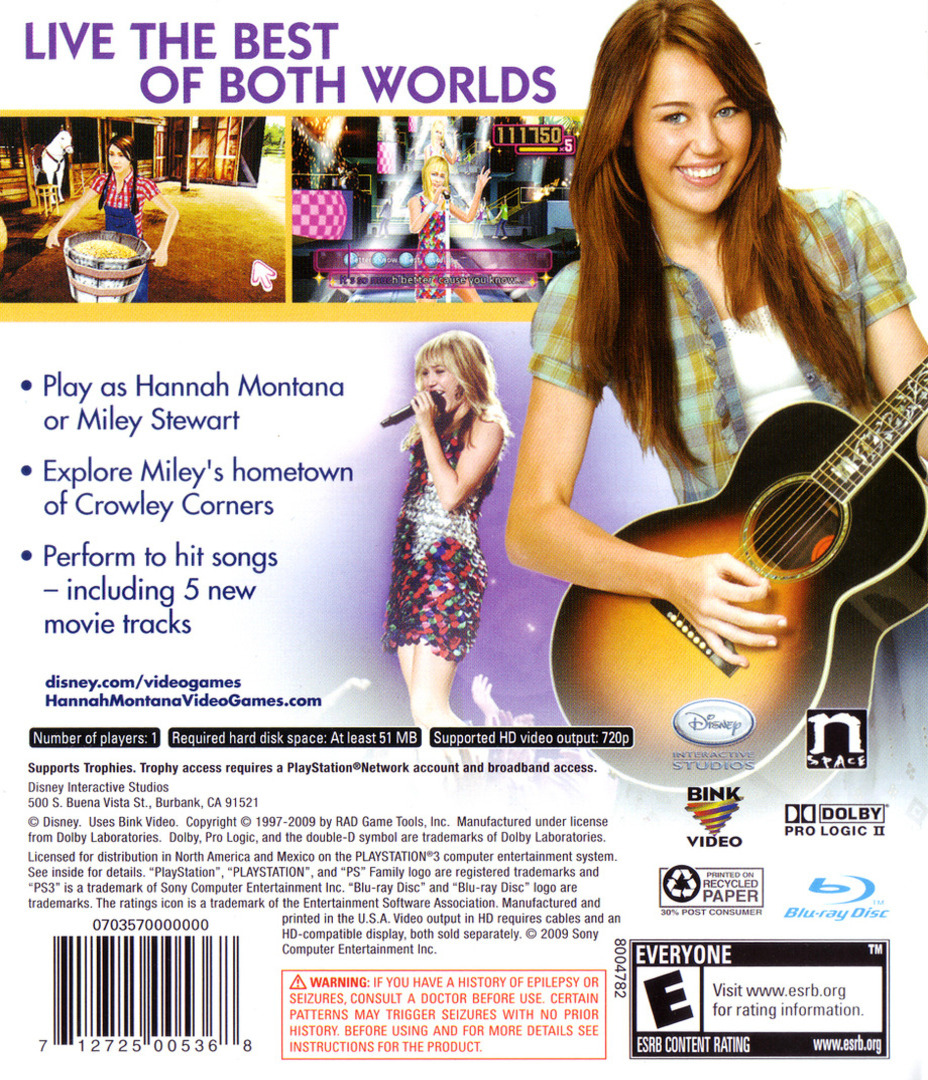 Hannah Montana: The Movie PS3 backHQ (BLUS30365)