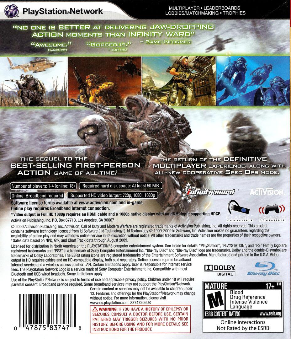Call of Duty: Modern Warfare 2 PS3 backHQ (BLUS30377)