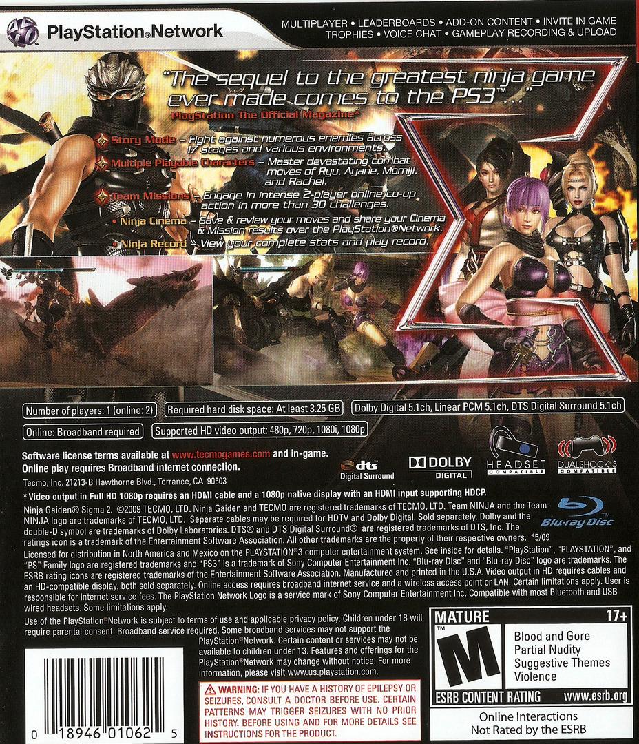 Ninja Gaiden: Sigma 2 PS3 backHQ (BLUS30380)