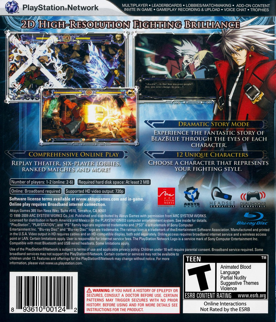BlazBlue: Calamity Trigger PS3 backHQ (BLUS30392)