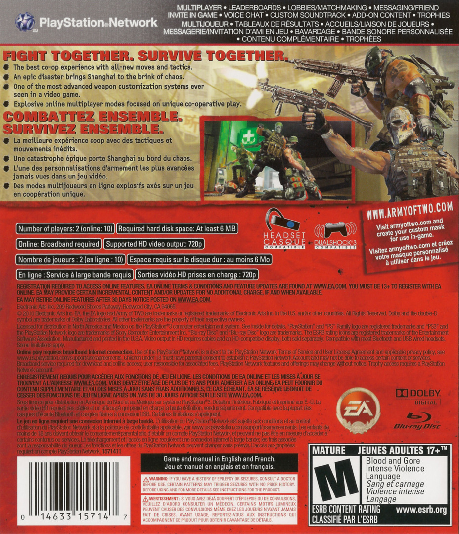 Army of Two: The 40th Day PS3 backHQ (BLUS30408)