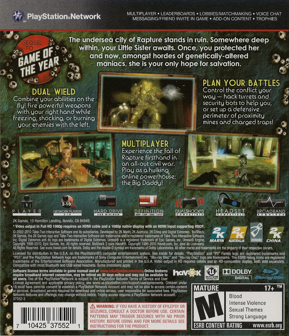 BioShock 2 PS3 backHQ (BLUS30420)