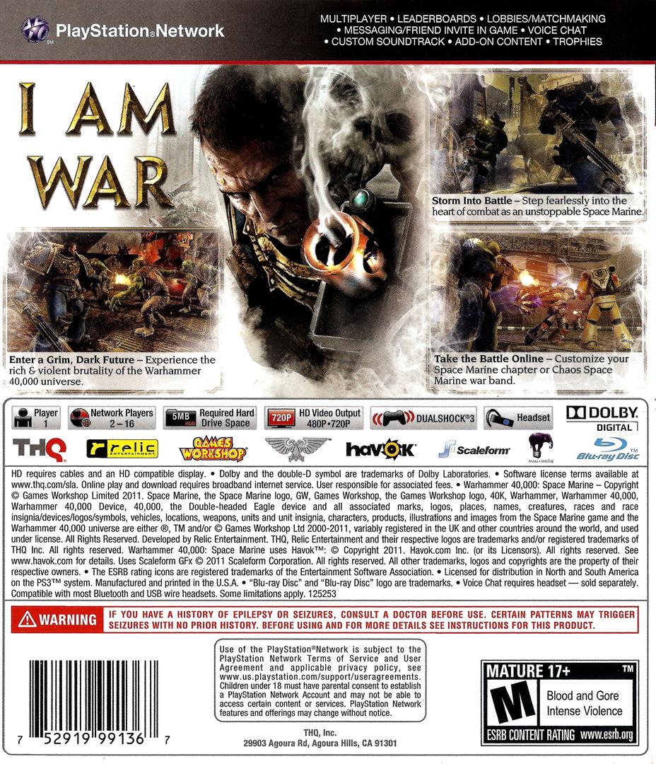 Warhammer 40000: Space Marine PS3 backHQ (BLUS30432)