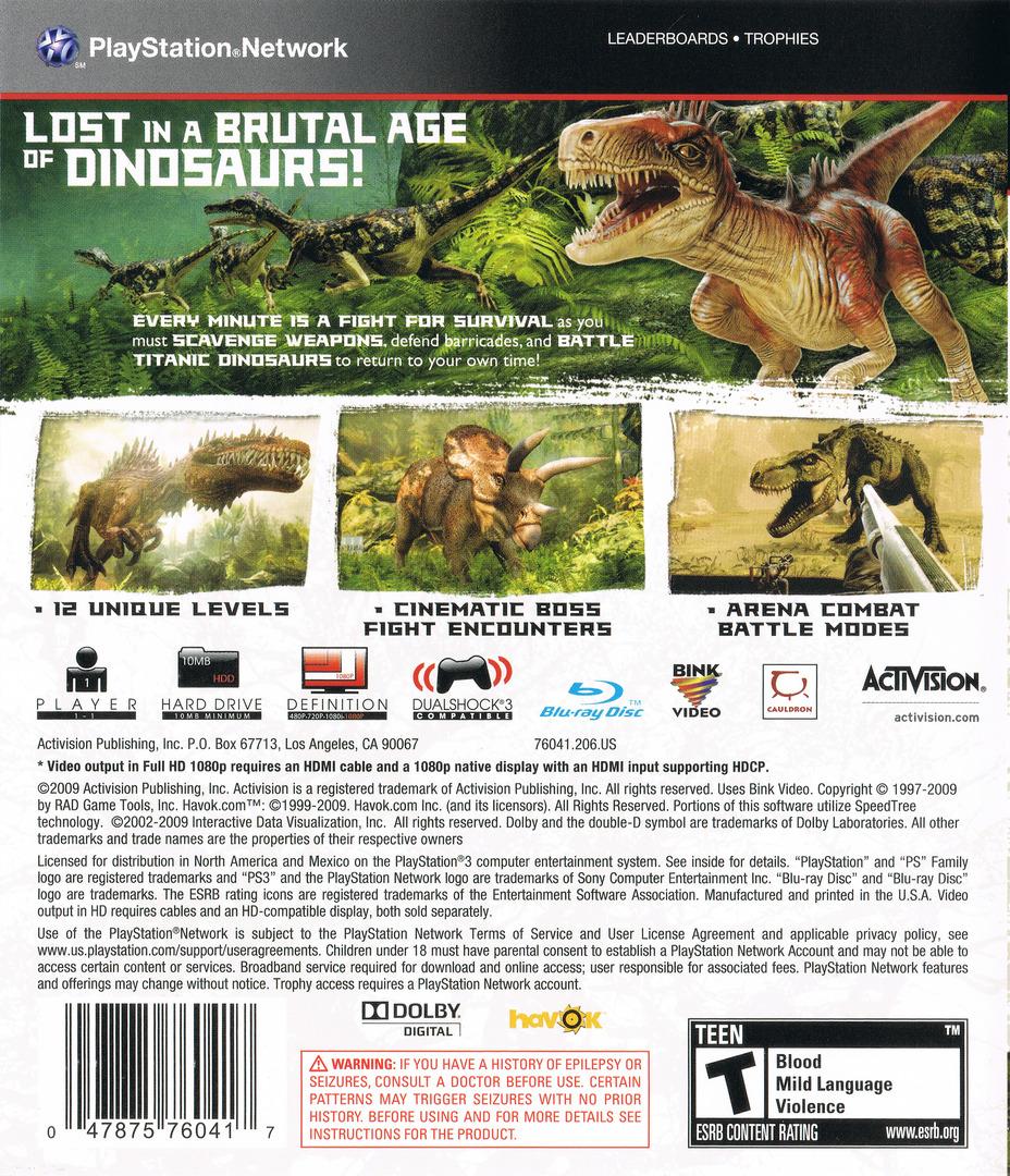 Jurassic: The Hunted PS3 backHQ (BLUS30435)