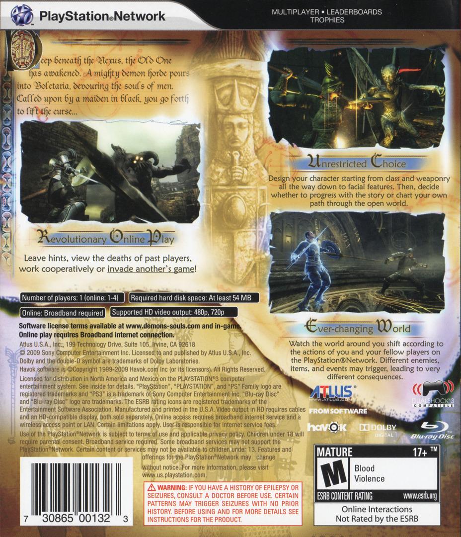 Demon's Souls PS3 backHQ (BLUS30443)