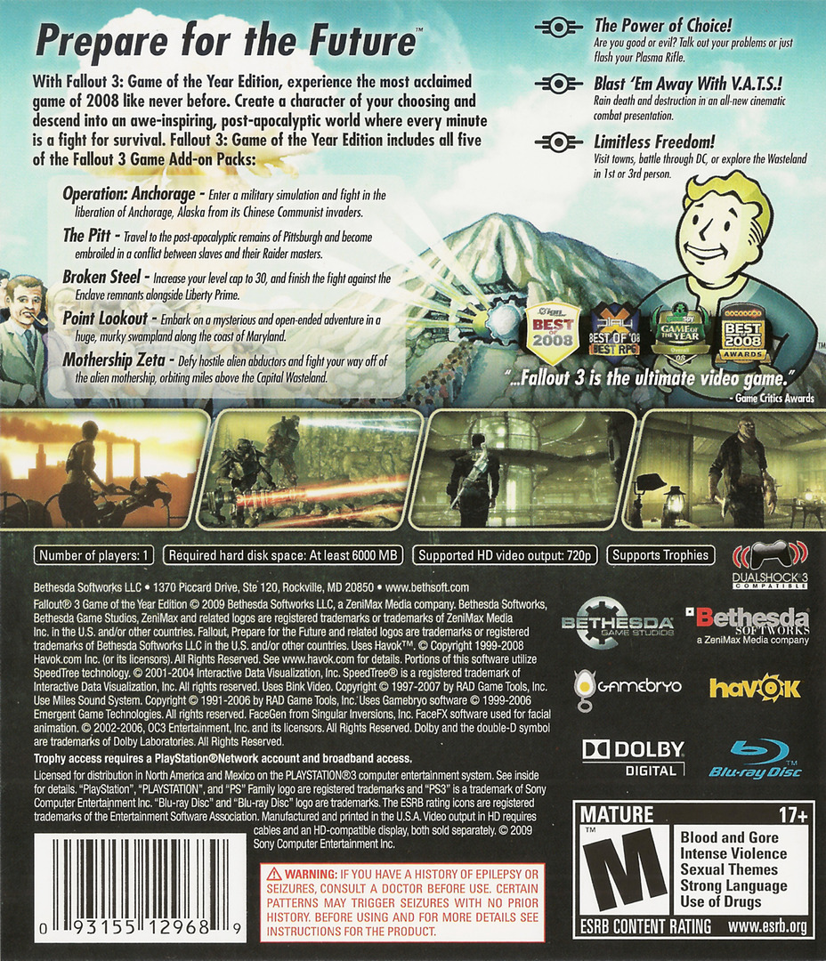 Fallout 3 Game of the Year Edition PS3 backHQ (BLUS30451)