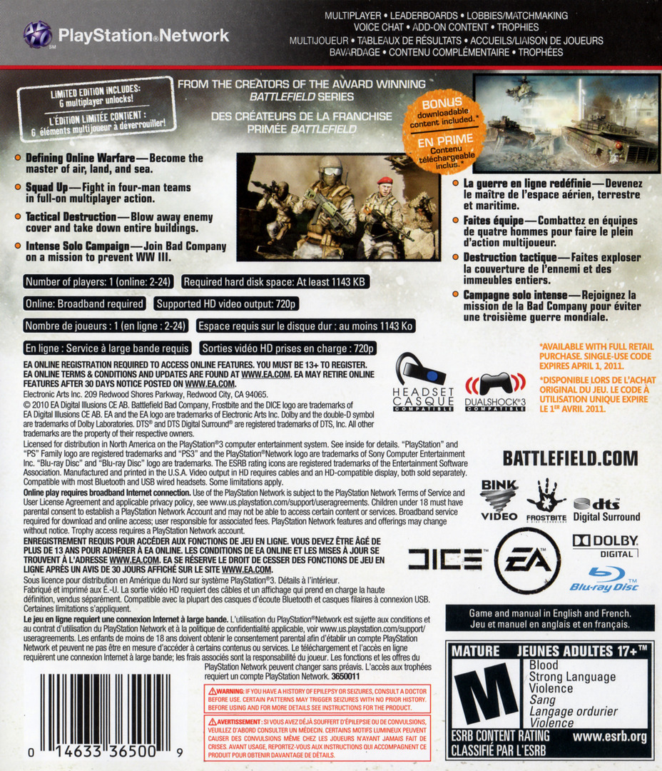 Battlefield: Bad Company 2 PS3 backHQ (BLUS30458)