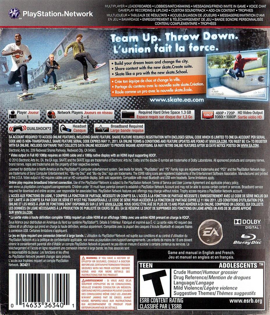 Skate 3 PS3 backHQ (BLUS30464)