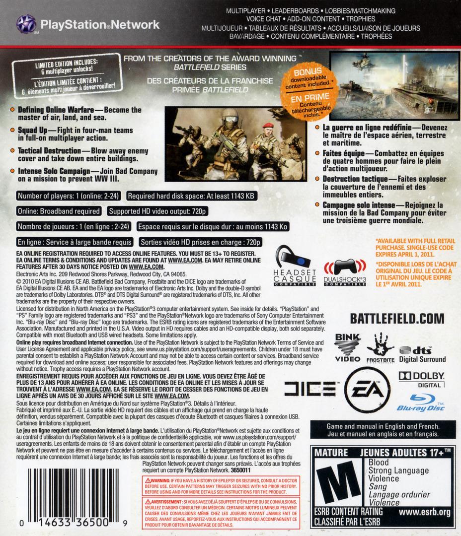 Battlefield: Bad Company 2 Limited Edition PS3 backHQ (BLUS30517)