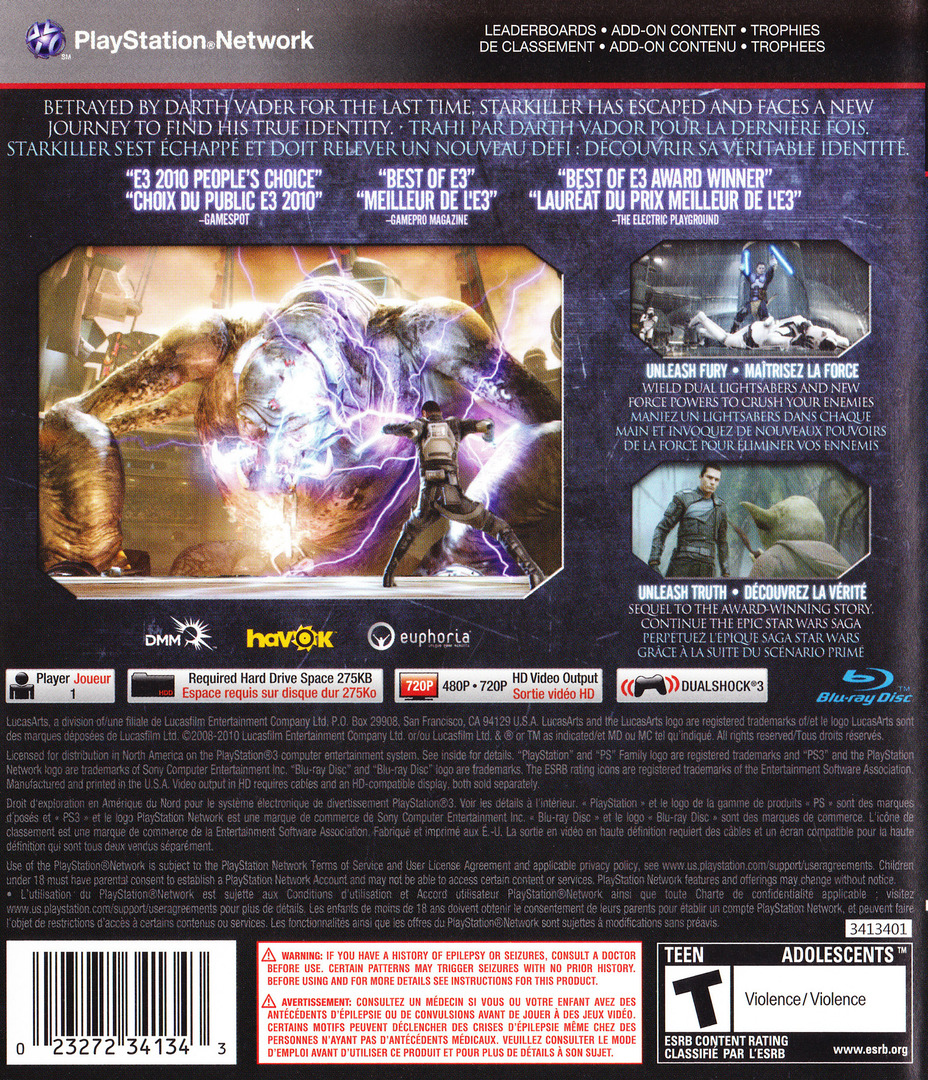 Star Wars: The Force Unleashed II PS3 backHQ (BLUS30534)