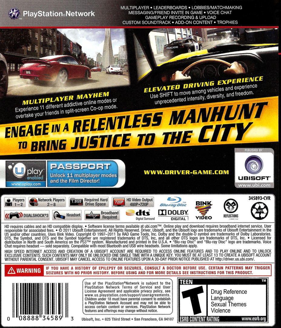 Driver: San Francisco PS3 backHQ (BLUS30536)