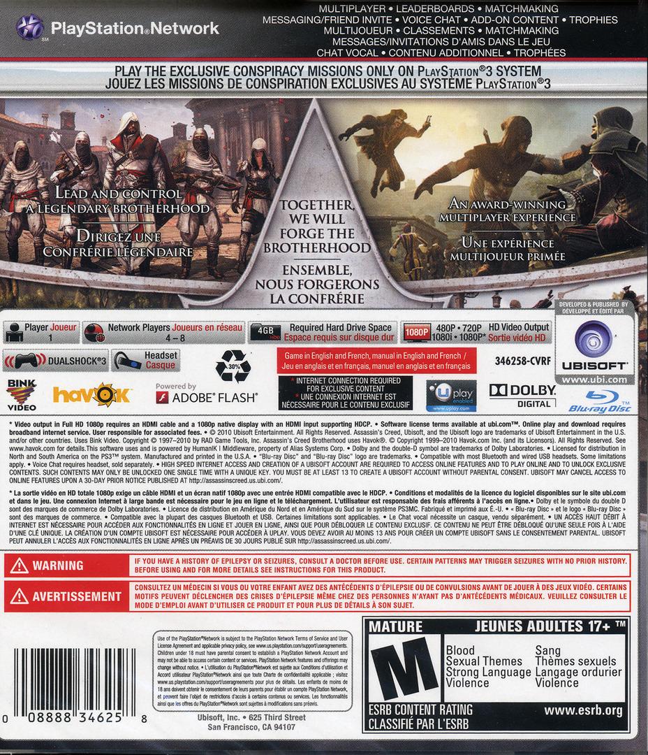 Assassin's Creed: Brotherhood PS3 backHQ (BLUS30537)