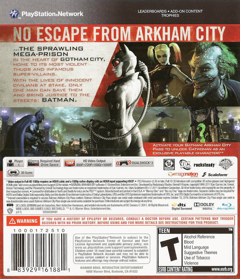 Batman: Arkham City PS3 backHQ (BLUS30538)