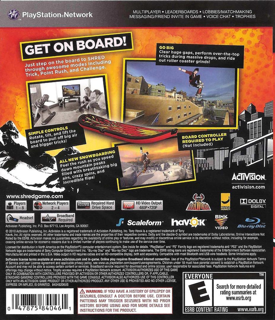 Tony Hawk: Shred PS3 backHQ (BLUS30542)