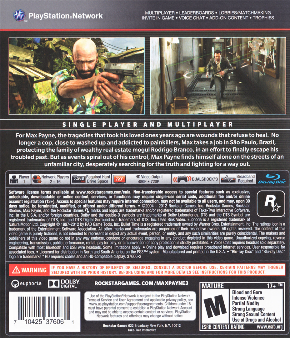 Max Payne 3 PS3 backHQ (BLUS30557)