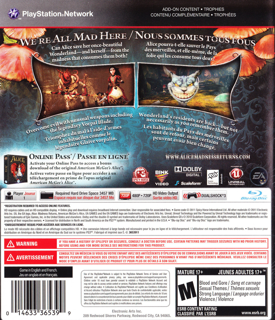 Alice: Madness Returns PS3 backHQ (BLUS30607)