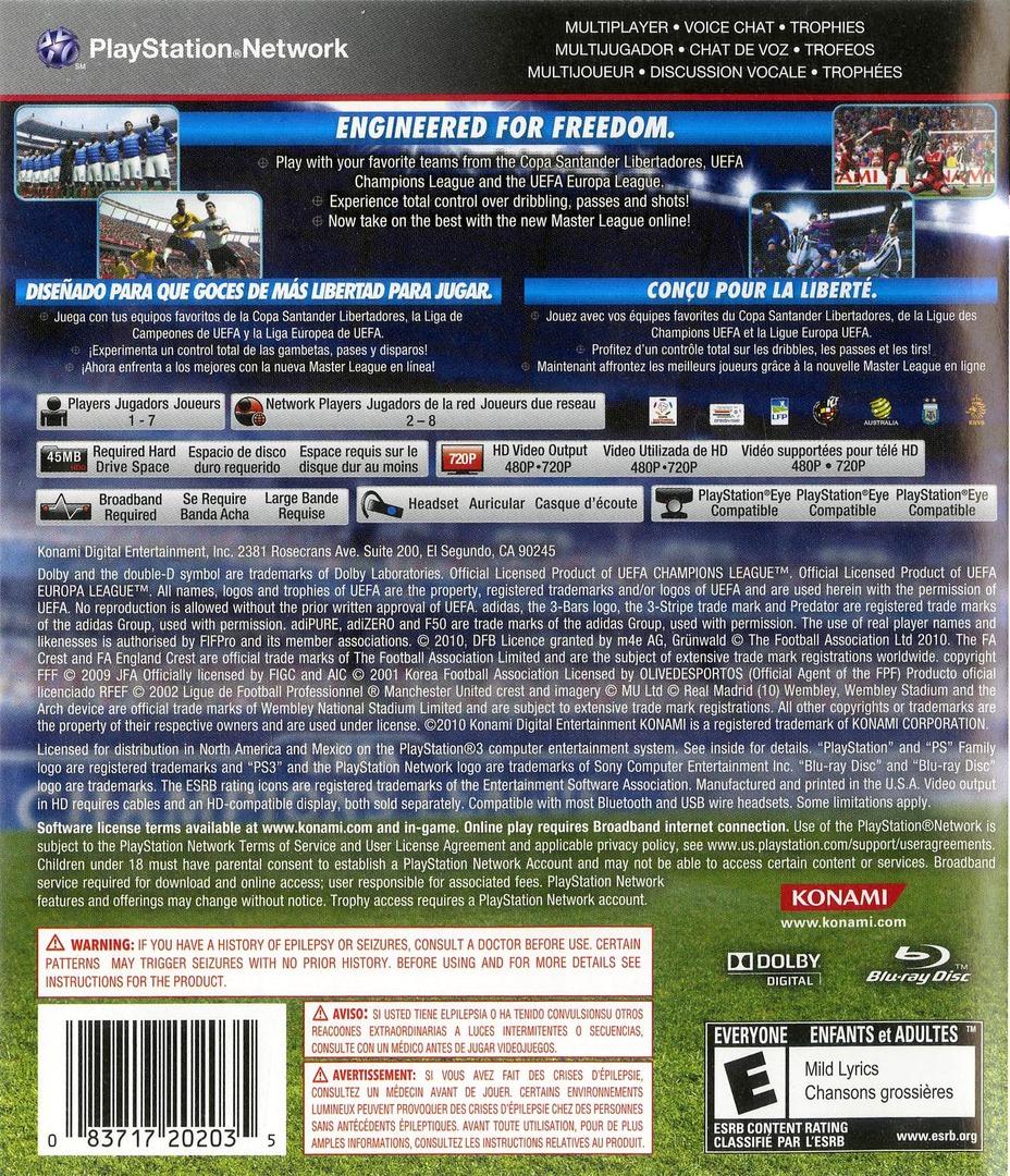 Pro Evolution Soccer 2011 PS3 backHQ (BLUS30610)
