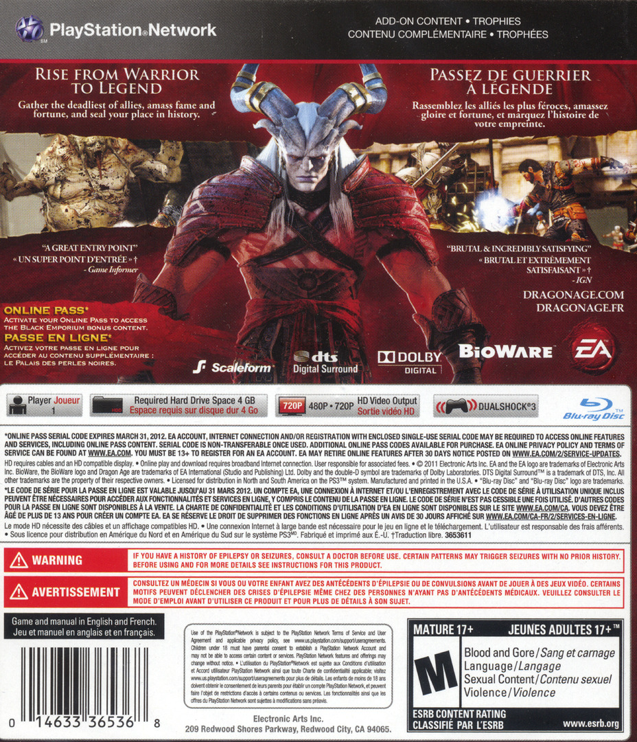 Dragon Age II PS3 backHQ (BLUS30645)