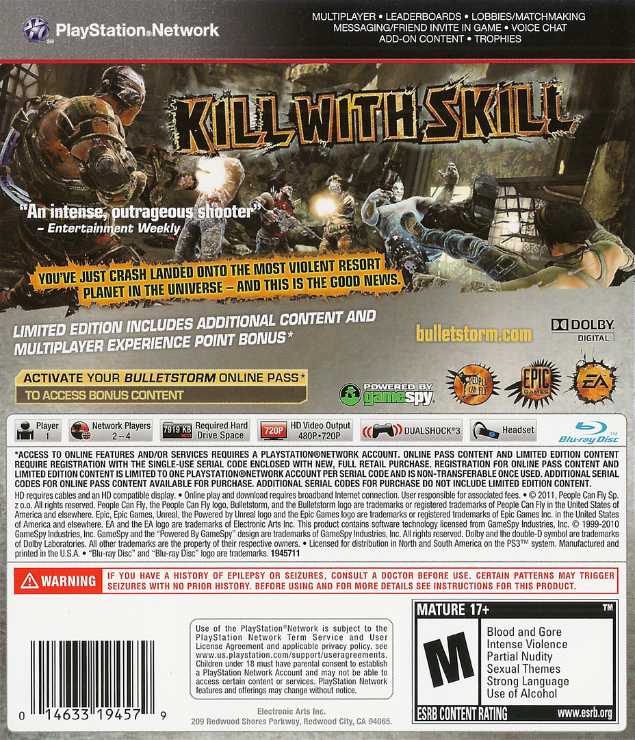 Bulletstorm PS3 backHQ (BLUS30651)