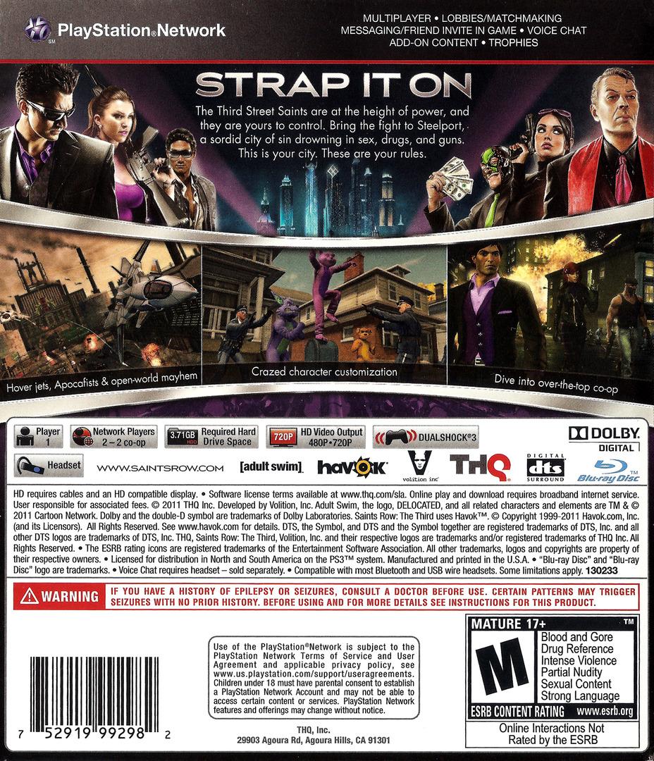 Saints Row: The Third PS3 backHQ (BLUS30666)