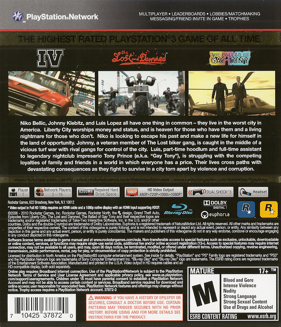 Grand Theft Auto IV: The Complete Edition PS3 backHQ (BLUS30682)