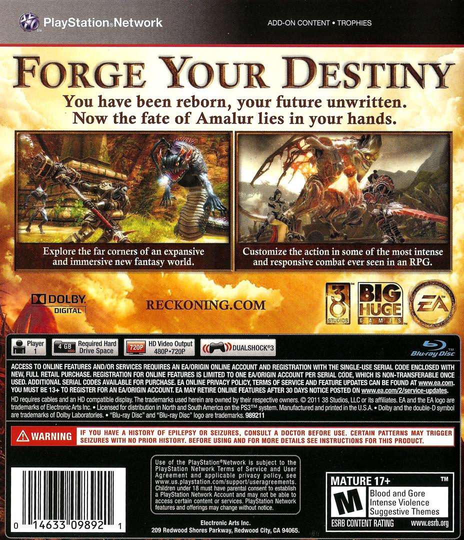 Kingdoms of Amalur: Reckoning PS3 backHQ (BLUS30710)