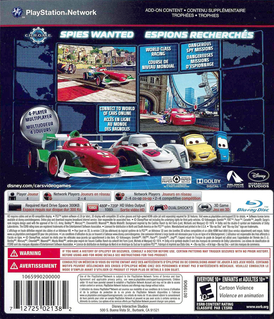 Cars 2: The Video Game PS3 backHQ (BLUS30725)