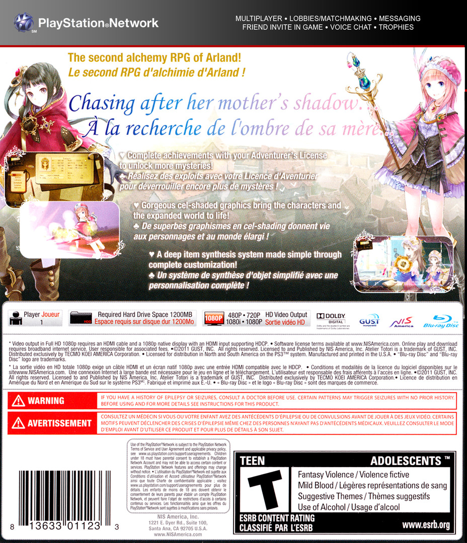 Atelier Totori: The Adventurer of Arland PS3 backHQ (BLUS30735)