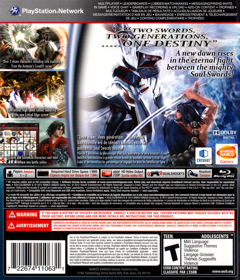 SoulCalibur V PS3 backHQ (BLUS30736)