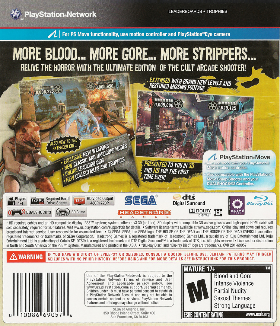 The House of the Dead: Overkill Extended Cut PS3 backHQ (BLUS30774)