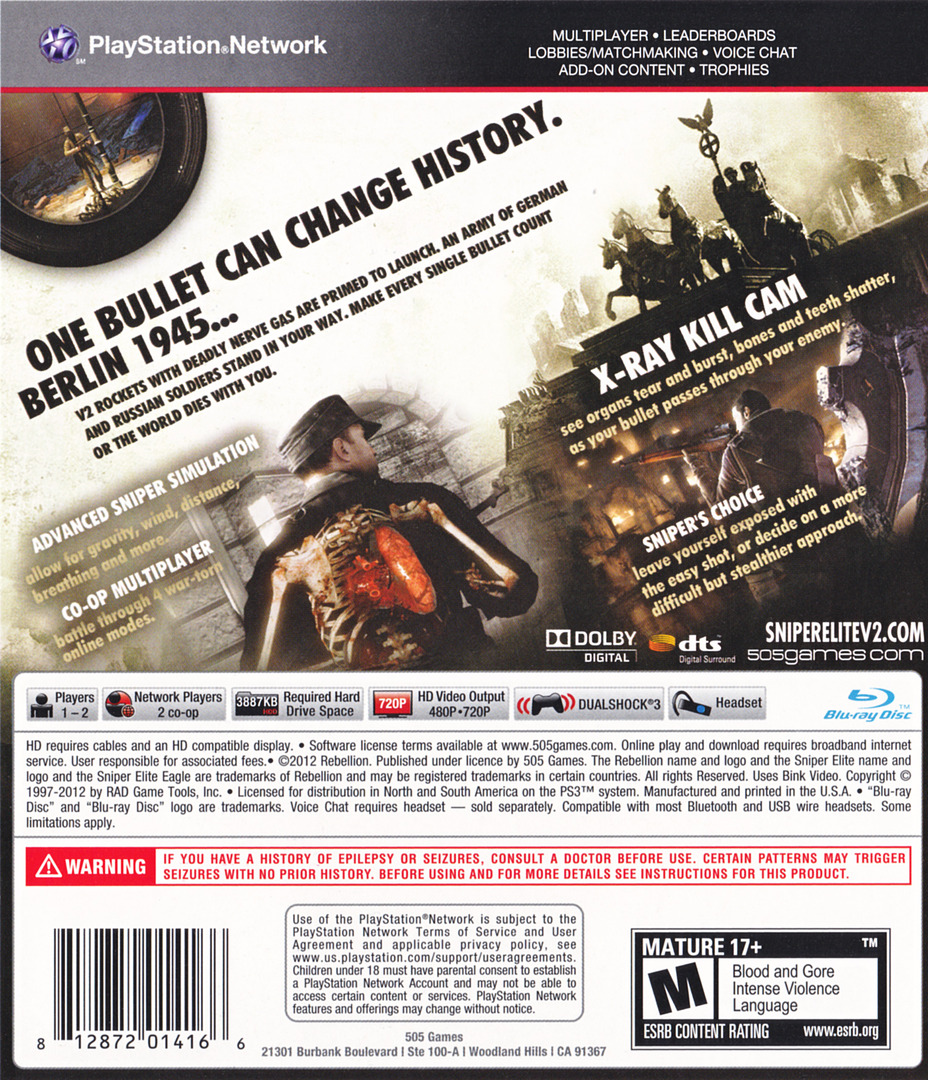 Sniper Elite V2 PS3 backHQ (BLUS30798)