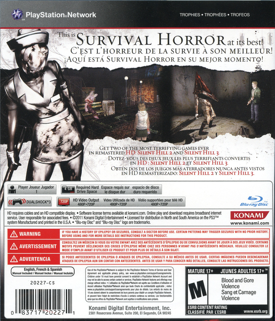 Silent Hill: HD Collection PS3 backHQ (BLUS30810)