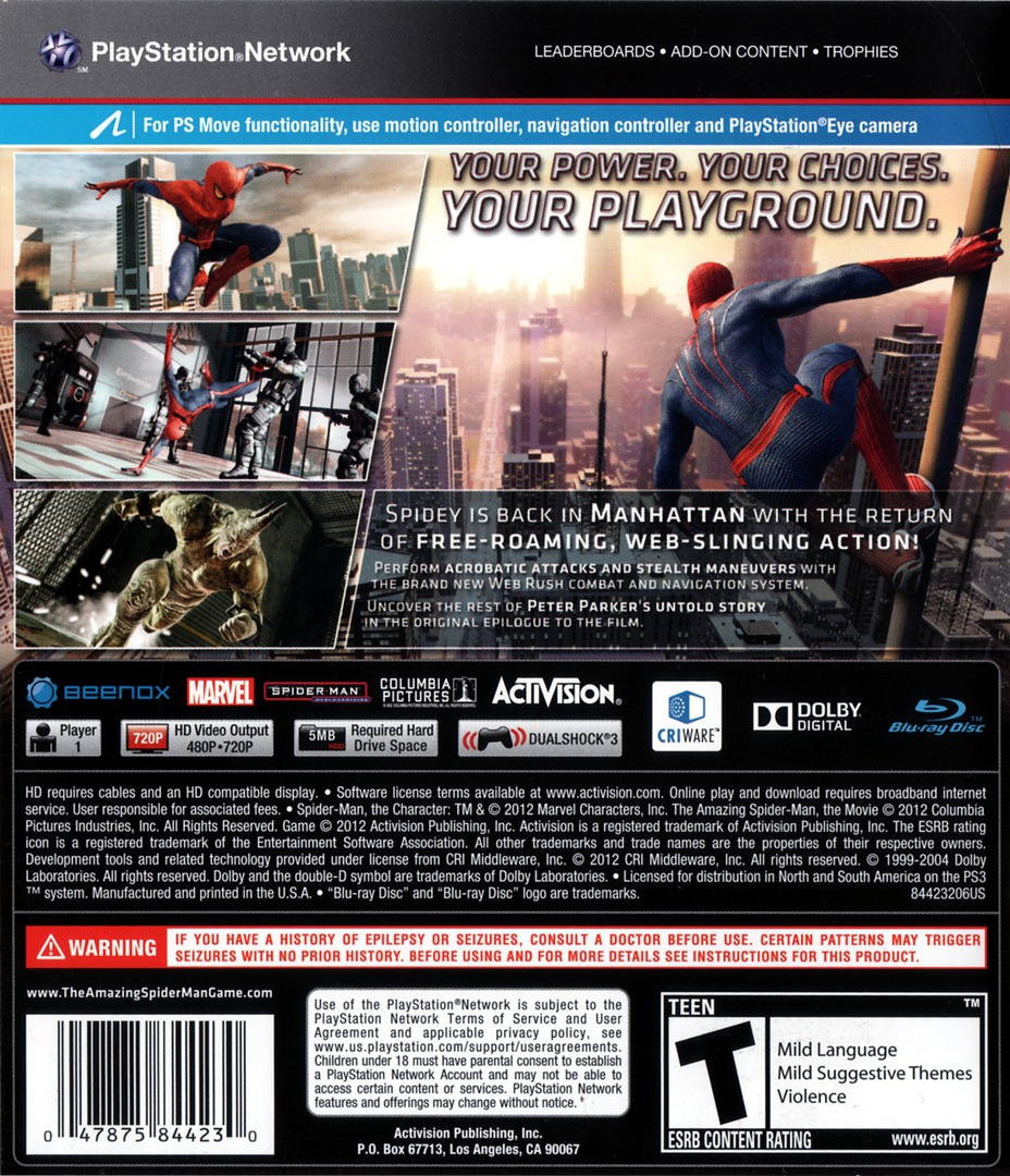 The Amazing Spider-Man PS3 backHQ (BLUS30828)