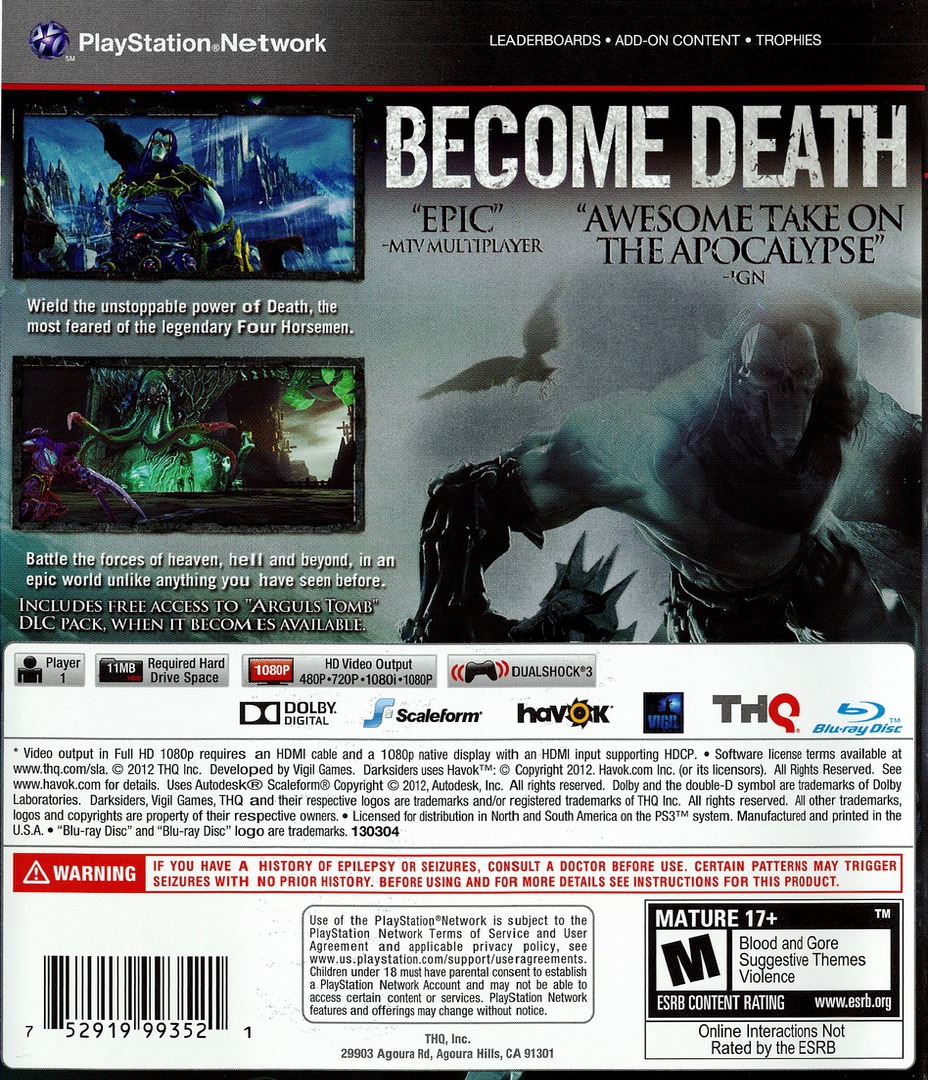 Darksiders II PS3 backHQ (BLUS30829)