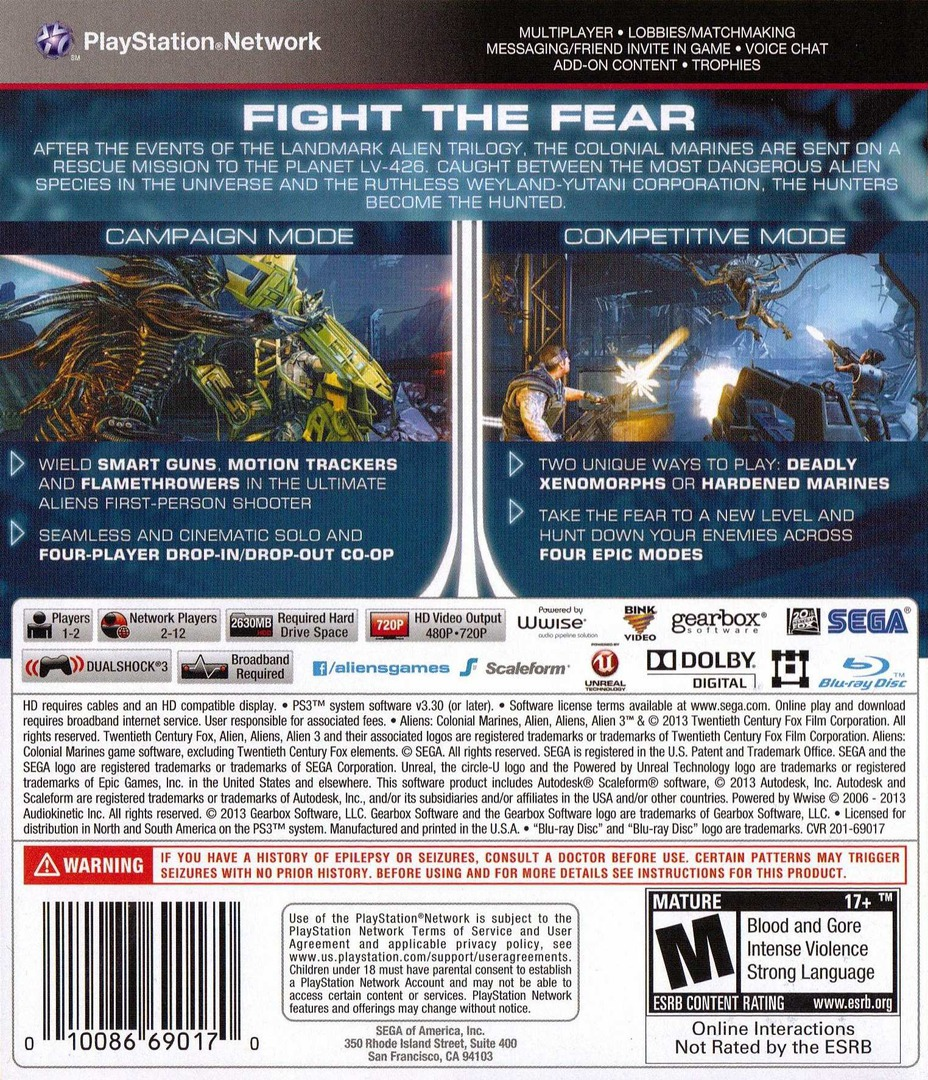 Aliens: Colonial Marines PS3 backHQ (BLUS30862)