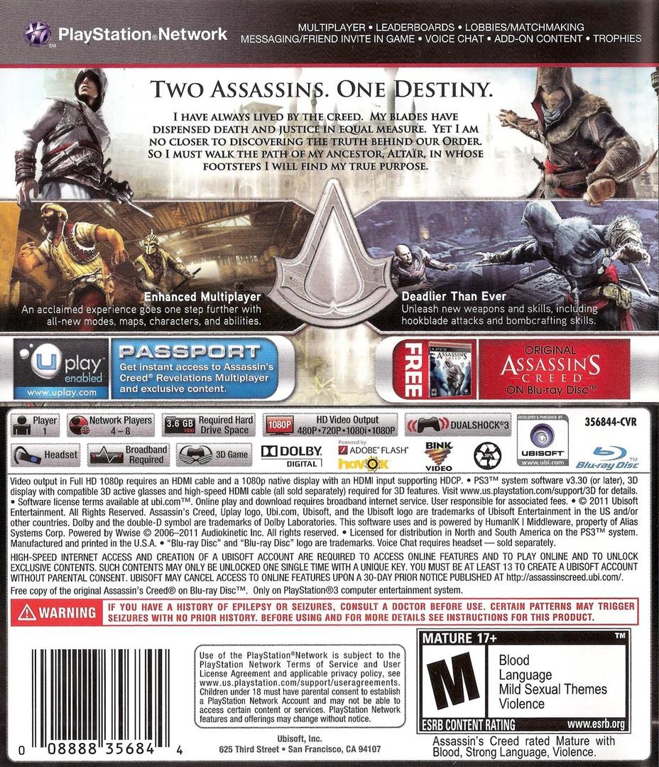 Assassin's Creed: Revelations PS3 backHQ (BLUS30905)