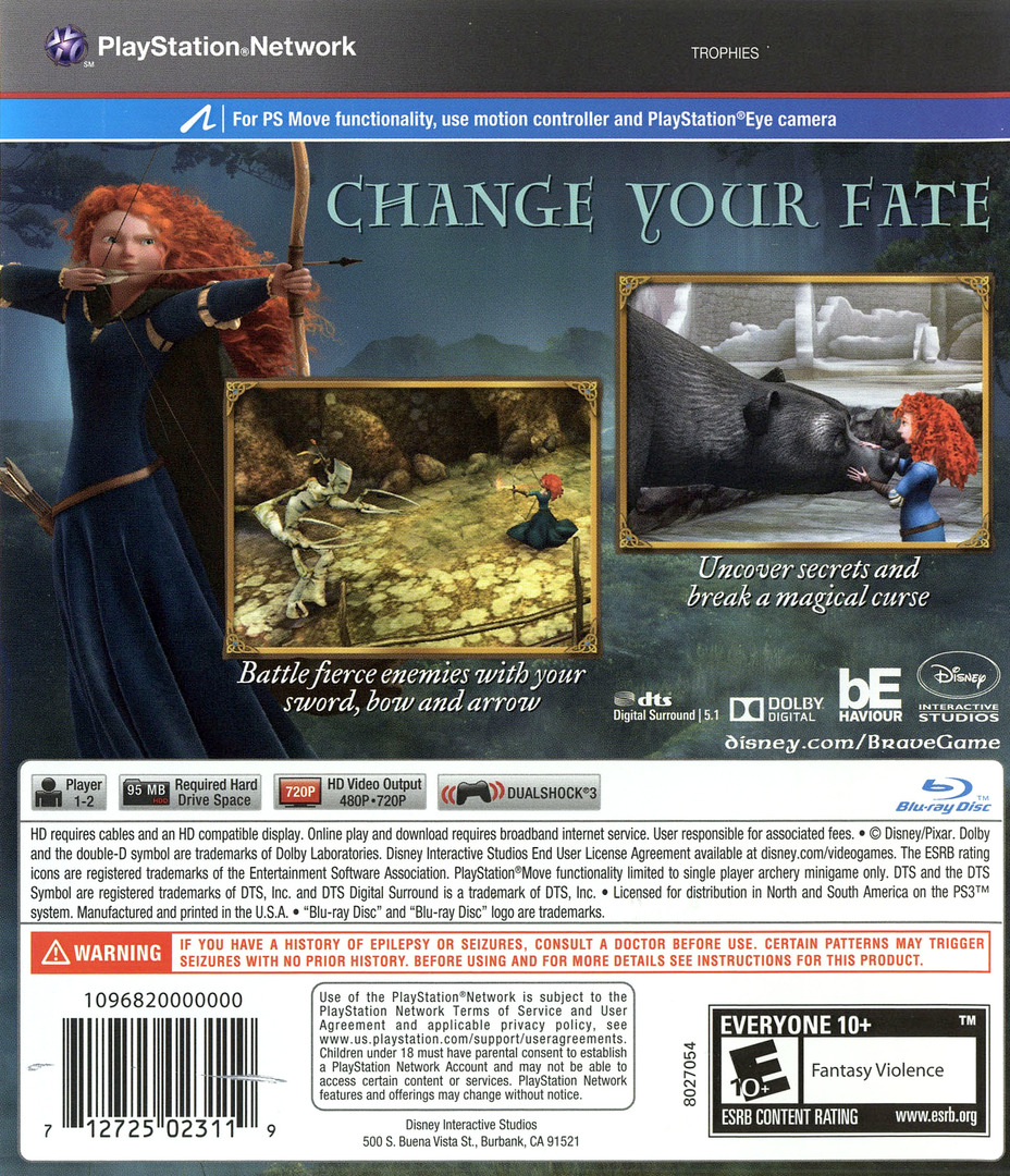 Brave: The Video Game PS3 backHQ (BLUS30907)