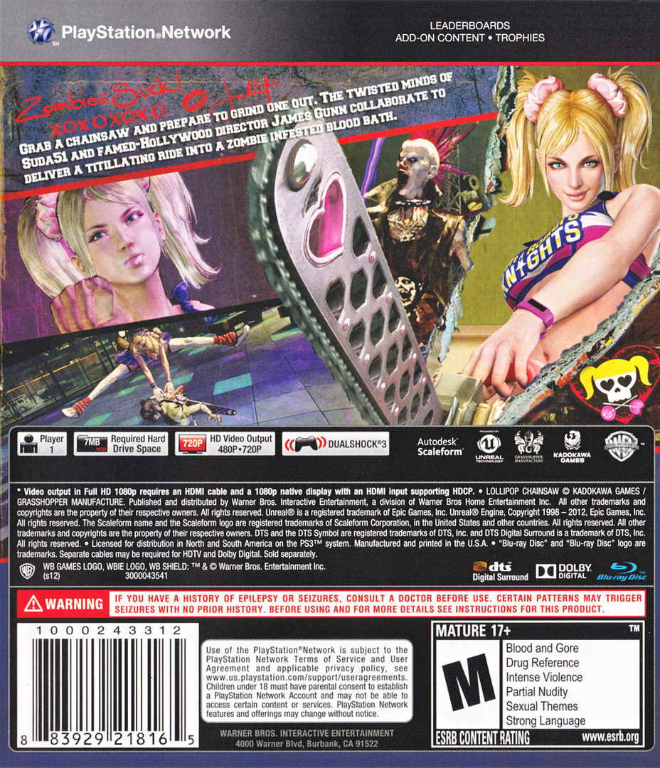 Lollipop Chainsaw PS3 backHQ (BLUS30917)