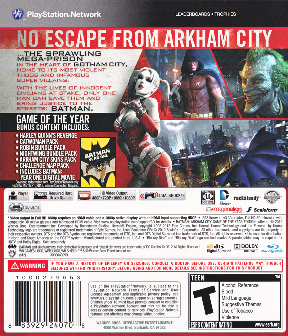 Batman: Arkham City (Game of the Year Edition) Array backHQ (BLUS30978)