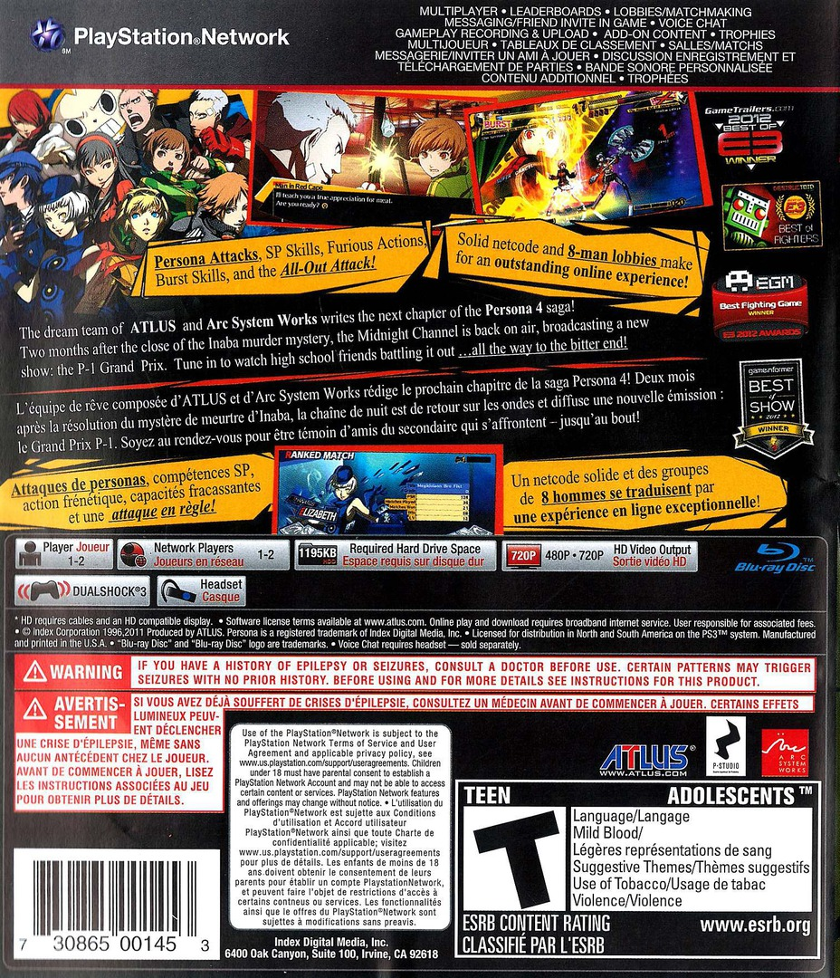 Persona 4 Arena PS3 backHQ (BLUS30985)