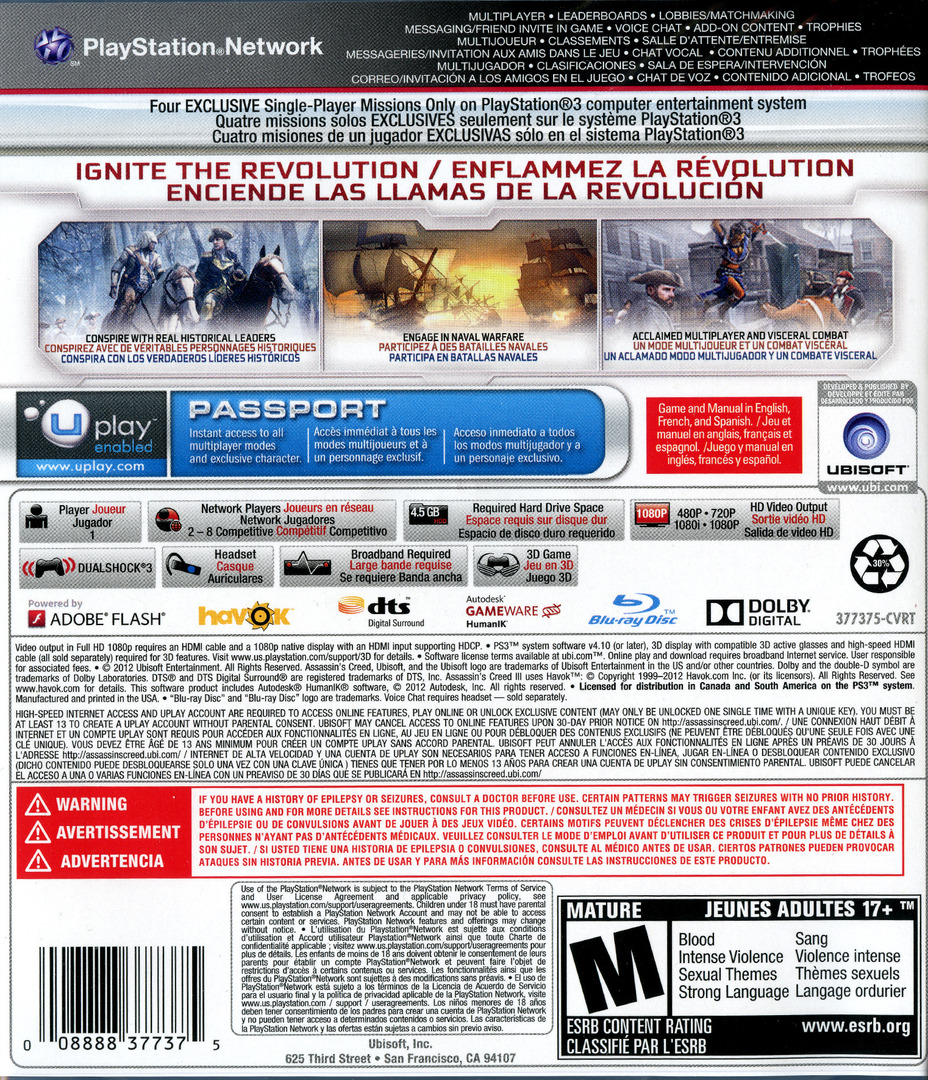Assassin's Creed III PS3 backHQ (BLUS30991)